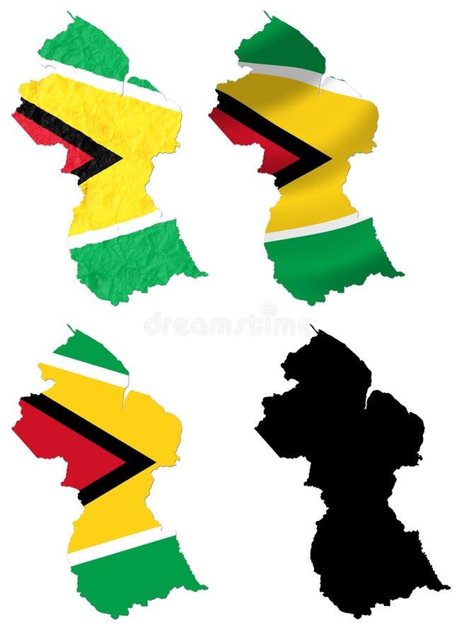 Guyana-Flagge über Kartencollage stock abbildung