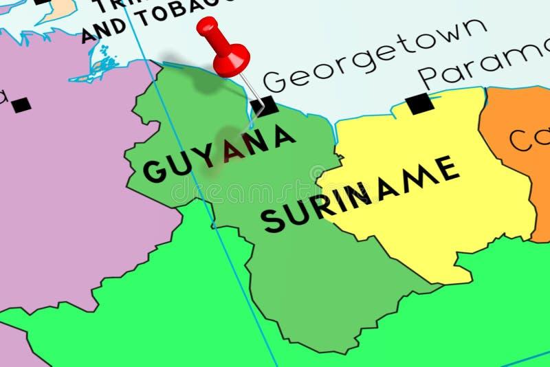 Guyana, Georgetown - Hauptstadt, festgesteckt auf politische Karte lizenzfreie abbildung