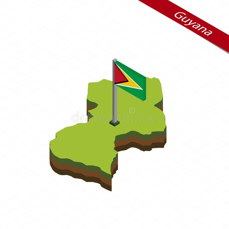 Guyana isometrisk översikt och flagga också vektor för coreldrawillustration royaltyfri illustrationer