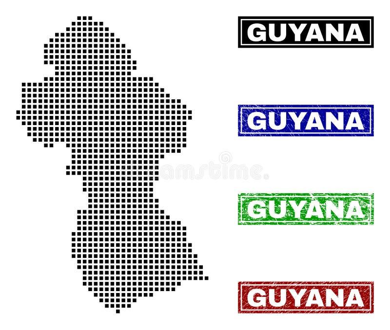 Guyana-Karte in Dot Style mit Schmutz-Titel-Stempeln stock abbildung