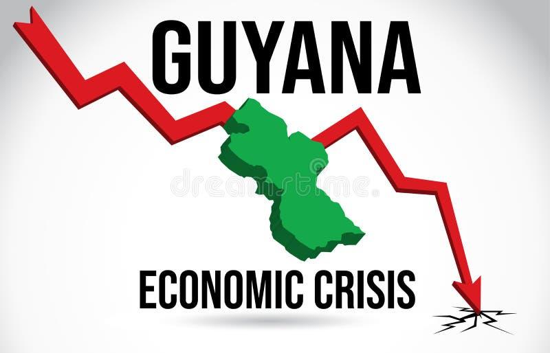 Guyana-Karten-Finanzkrise-wirtschaftlicher Einsturz-Börsenkrach-globaler Einschmelzen-Vektor stock abbildung
