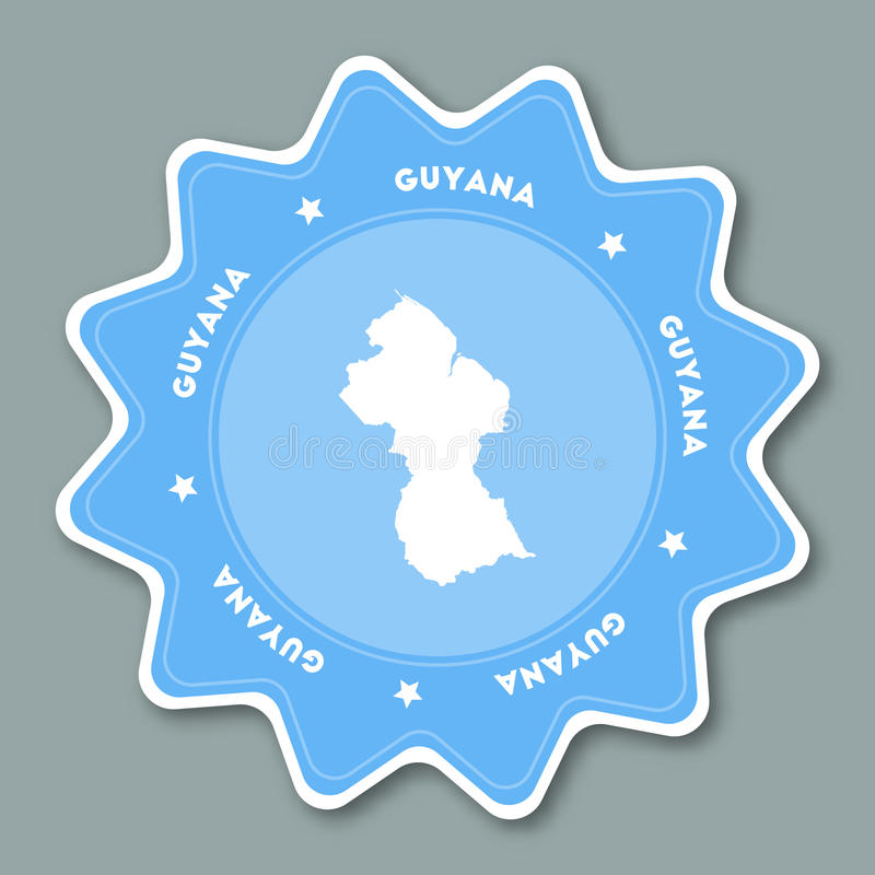Guyana Map Sticker In Trendy Colors Stock Vector Illustration of