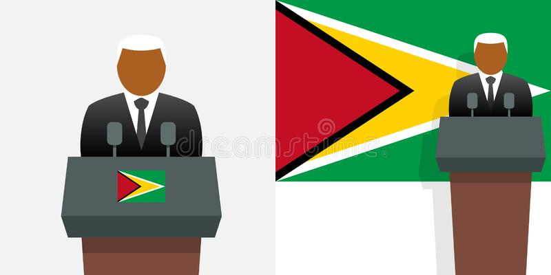 Guyana-Präsident und -flagge stock abbildung