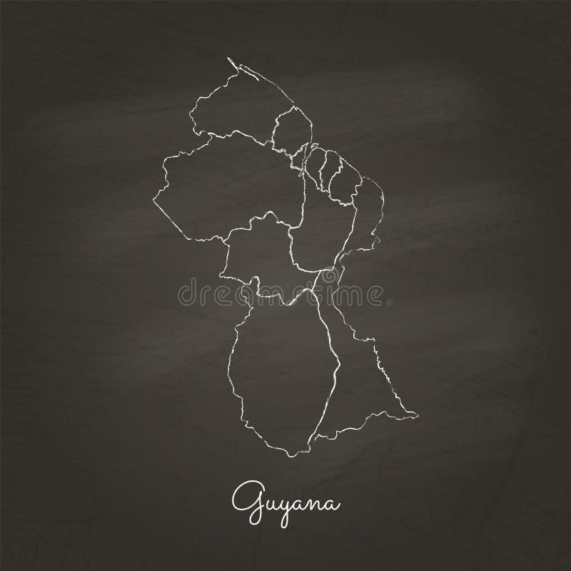 Guyana-Regionskarte: Hand an gezeichnet mit weißer Kreide lizenzfreie abbildung