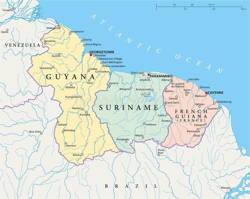 Guyana, Surinam och Franska Guyana politisk översikt vektor illustrationer