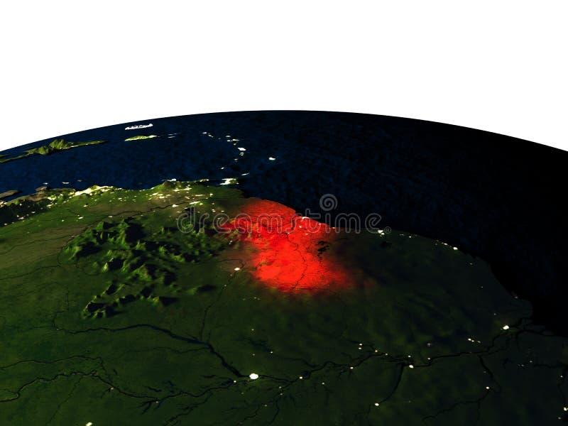 Guyana van ruimte bij nacht vector illustratie