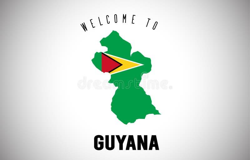Guyana-Willkommen zu simsen und Landesflagge innerhalb des Landgrenzekarten-Vektor-Entwurfs lizenzfreie abbildung