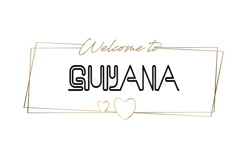 Guyana-Willkommen, zum der beschriftenden Neontypographie zu simsen Wort für Firmenzeichen, Ausweis, Ikone, Postkarte, Logo, Fahn stock abbildung
