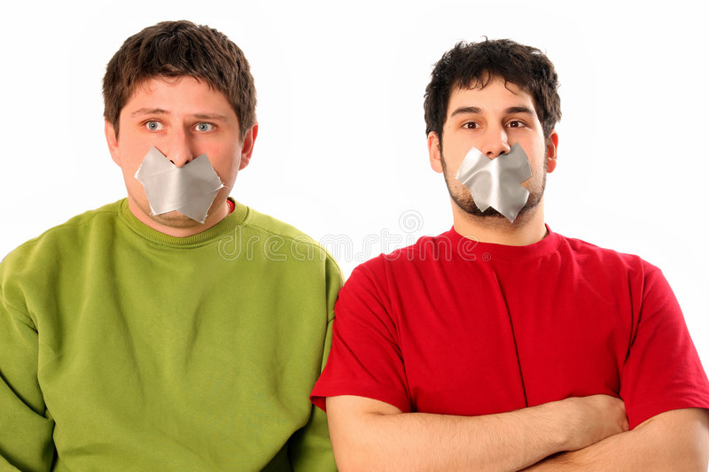 Guys with adhesive tape. Two guys with adhesive tape on lips stock image