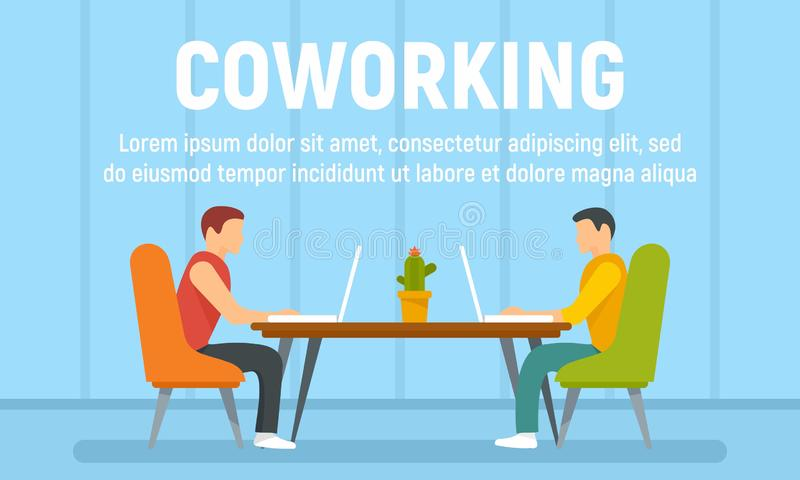 Guys coworking concept banner, flat style. Guys coworking concept banner. Flat illustration of guys coworking vector concept banner for web design stock illustration