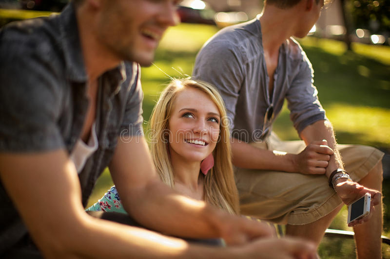 Guys and girl royalty free stock photo