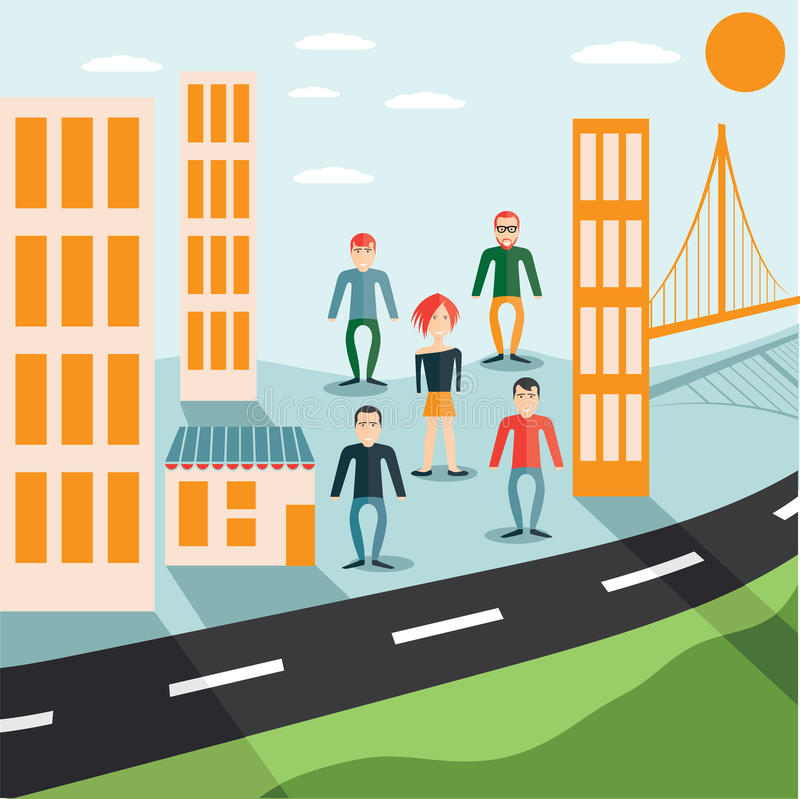 Guys and girl in the city flat design. Four guys and girl in the city flat design royalty free illustration