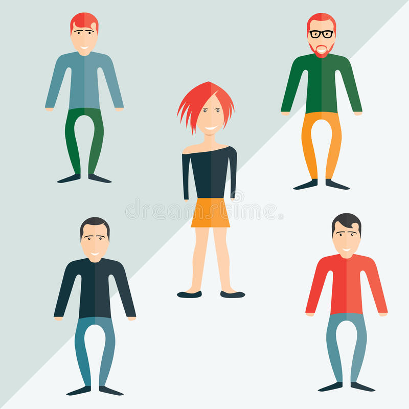 Guys and girl flat design. Four guys and girl flat design vector illustration