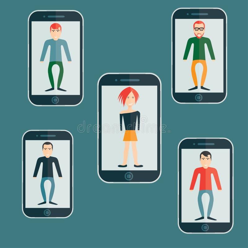 Guys and girl flat design smartphone application. Four guys and girl flat design smartphone application vector illustration