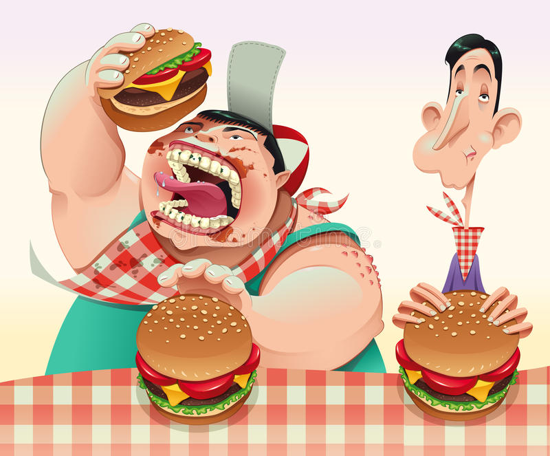 Guys with hamburgers. royalty free illustration