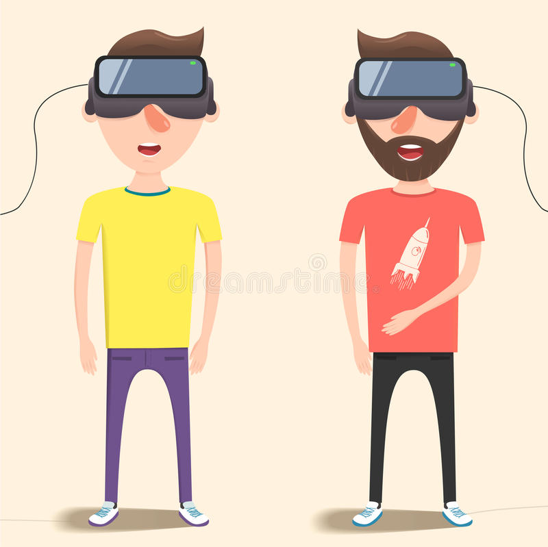 Guys with isometric virtual reality headset. Vector flat illustration. A guys with isometric virtual reality headset. A Contemporary style with pastel palette royalty free illustration