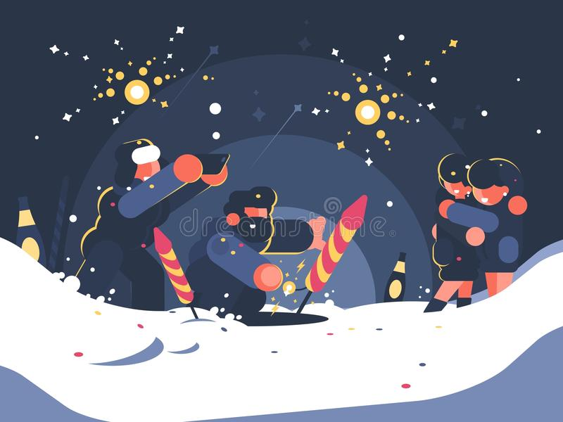 Guys launching fireworks. New Year or Christmas salute. Vector illustration stock illustration
