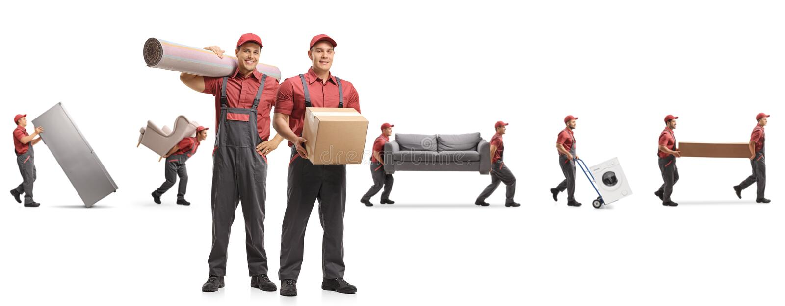 Guys from a moving company carrying home appliences and furniture. Isolated on white background stock photos