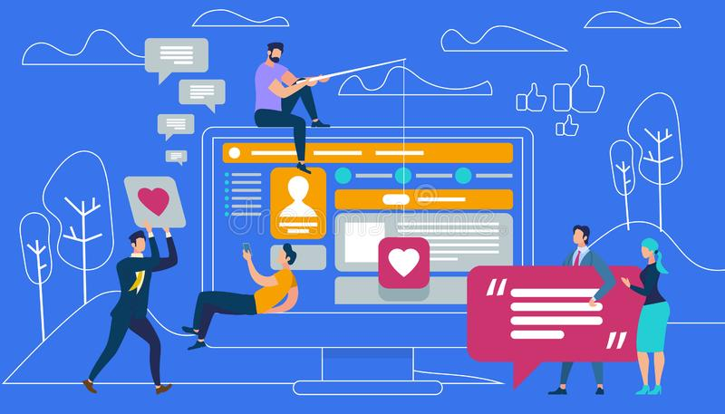 Guys and Women Sitting and Moving at Big Monitor. On Blue Background with Outline Landscape. Young People Using Mobile Smartphone Leaving Messages in Social royalty free illustration