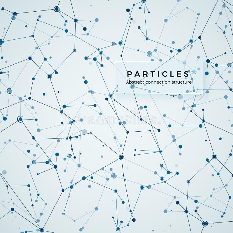 Guzek, kropkuje i wykłada Abstrakcjonistycznej zawiłości geometryczny graficzny tło Struktura atom, molekuła i komunikacja, ilustracja wektor