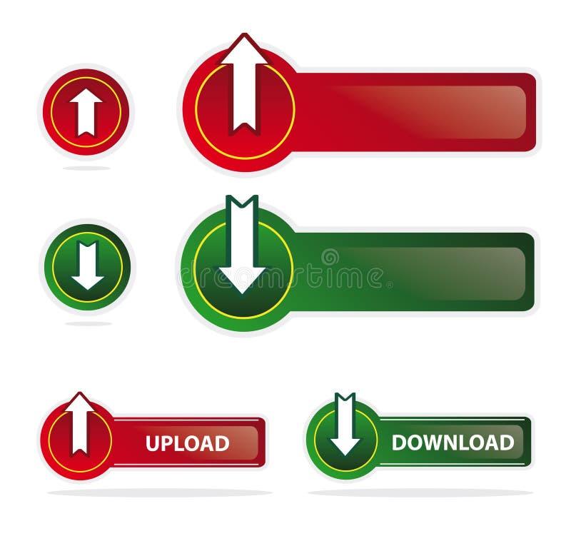 guzików ściągania ikon upload royalty ilustracja