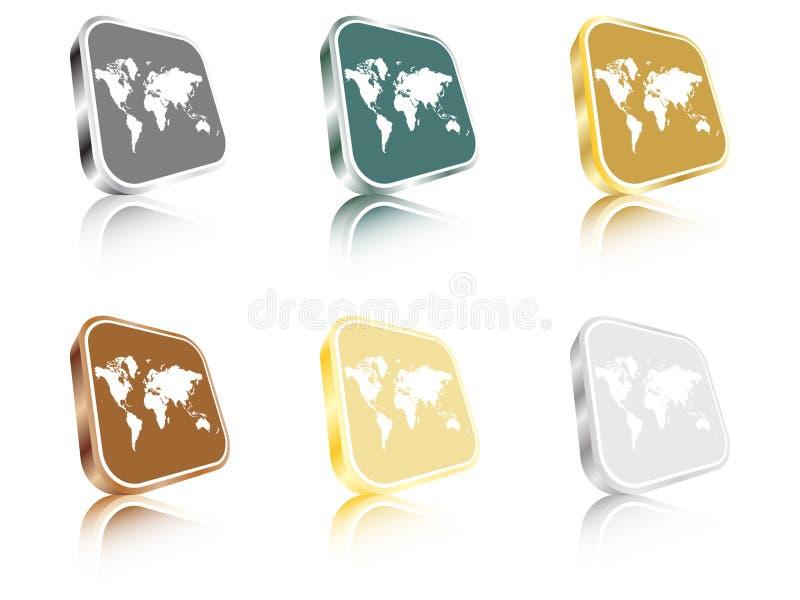 guzików mapy świat royalty ilustracja