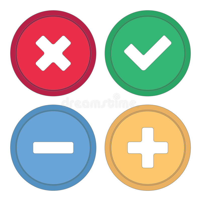 Guzik dla miejsca Znaki plus, checkmark i krzyż, minus, royalty ilustracja