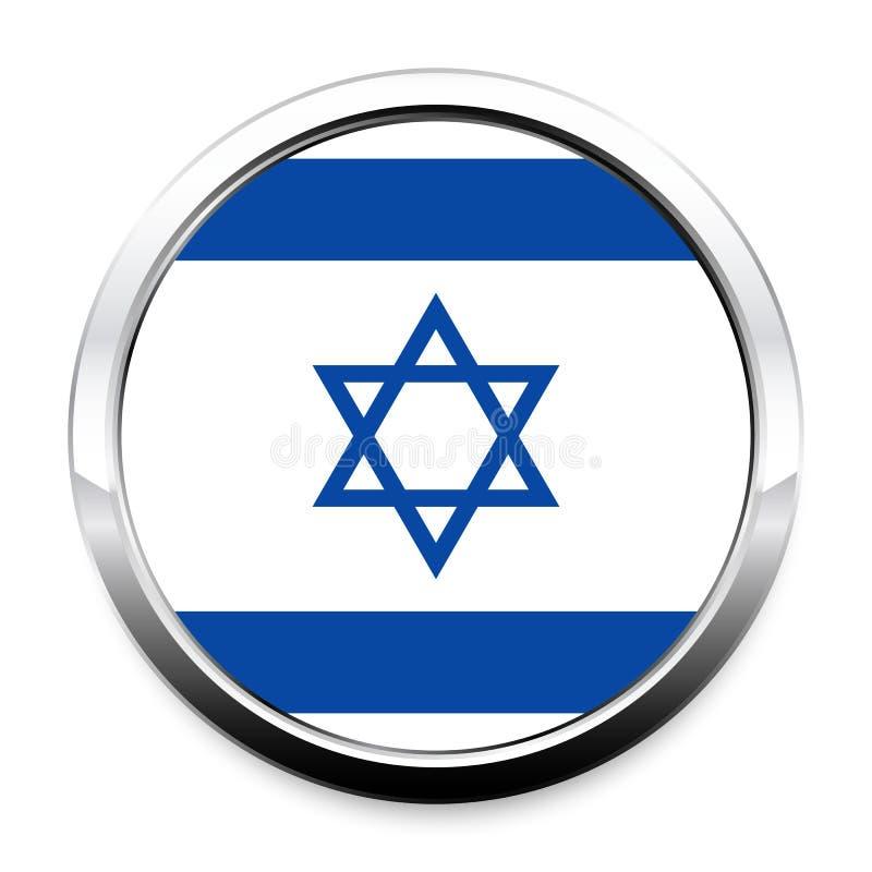 Guzik flaga Izrael w round metalu chromu ramie ilustracji