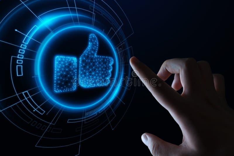 guzik lubi Biznesowy Internetowy Ogólnospołeczny Medialny technologii sieci pojęcie obrazy stock