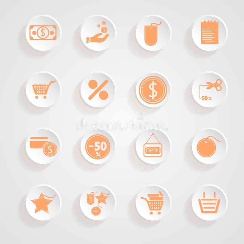 Guzik ocienia zakupy ikony set ilustracja wektor
