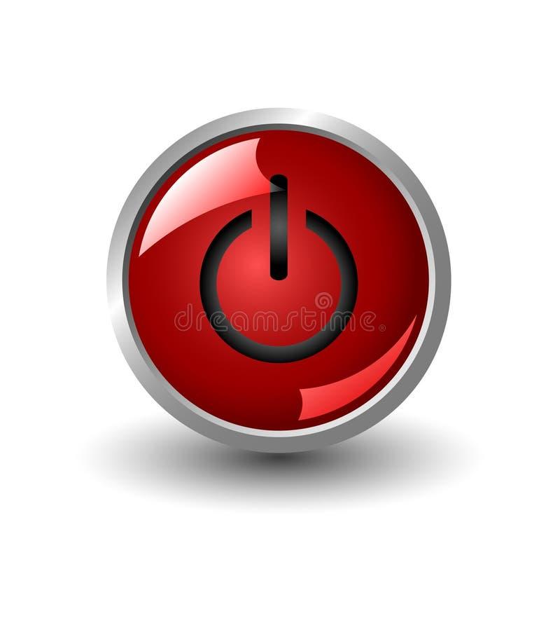 guzik władzy czerwieni sieć ilustracja wektor