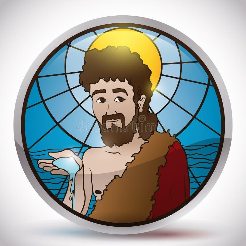 Guzik z witrażu wizerunkiem święty John baptysta, Wektorowa ilustracja ilustracji