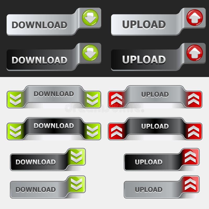 Download Guzika ściągania Ustalony Upload Ilustracja Wektor - Ilustracja złożonej z wyznaczający, pchnięcie: 13327077