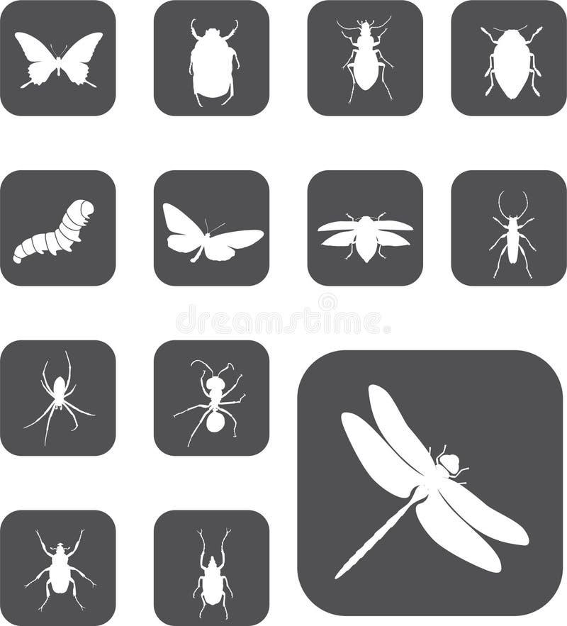guzika 24 insekta ustawiają z royalty ilustracja
