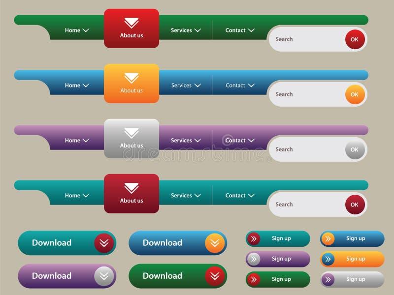 guzika internetów menu nawigaci set ilustracja wektor