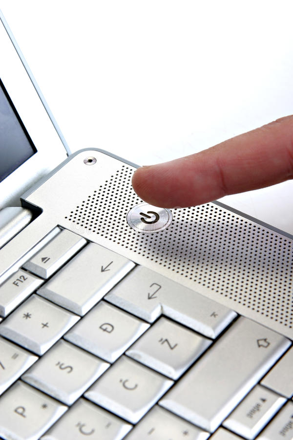 guzika laptopu władza obraz stock