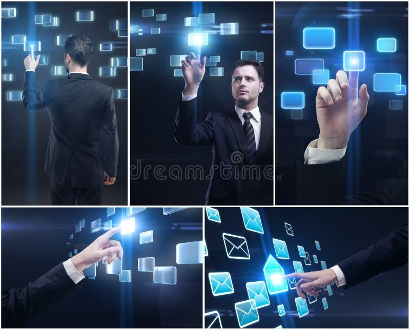 guzika mężczyzna dosunięcia ekranu ustalony dotyk obrazy stock