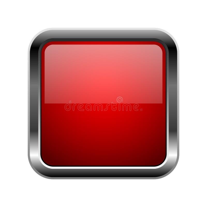 guzika szkła czerwień Kwadratowa 3d błyszcząca ikona z metal ramą ilustracja wektor