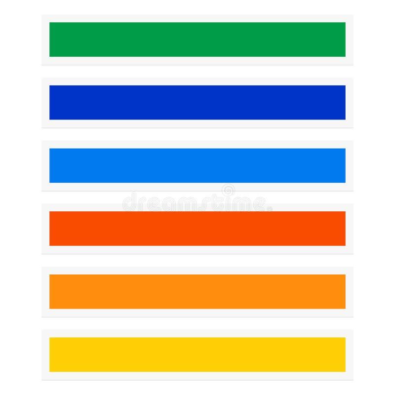 Guzika, sztandaru prostokąty z kolor kombinacją/ nawigacja ilustracja wektor