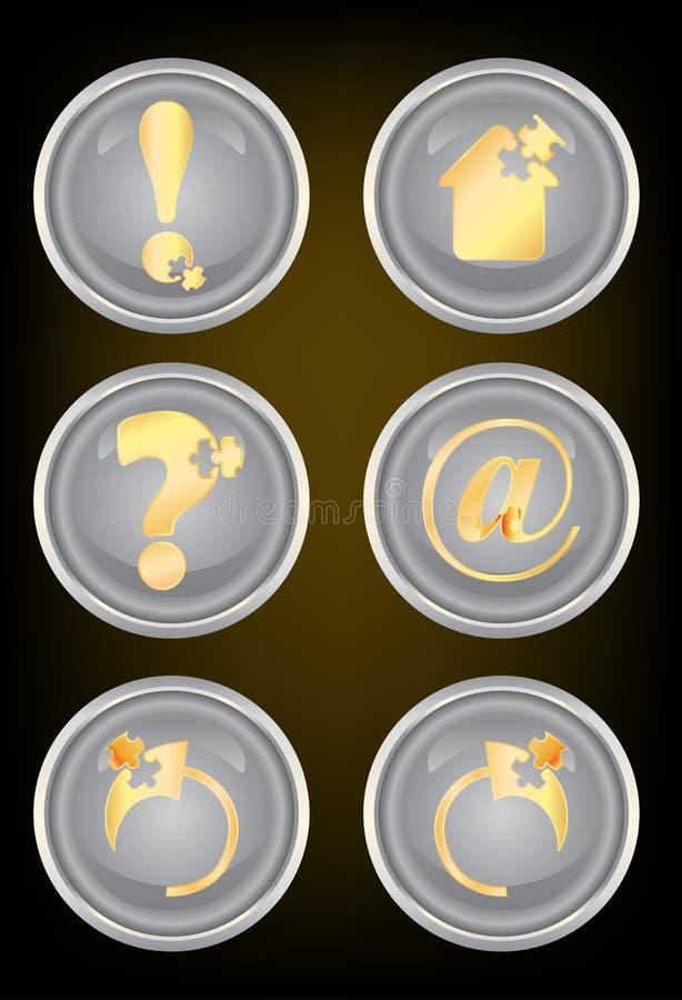 guzika złota ikony sieć ilustracji