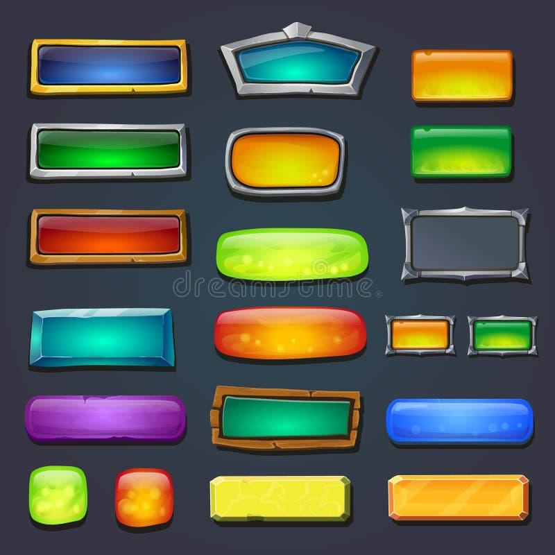 Guziki ustawiający, tworzą projektującego gemowego interfejs użytkownika UI ilustracji
