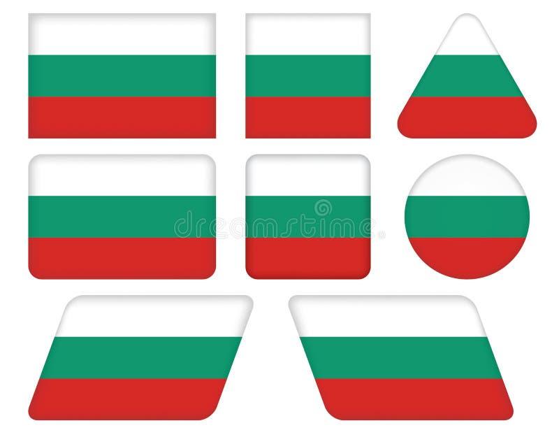 Guziki z flaga Bułgaria ilustracja wektor