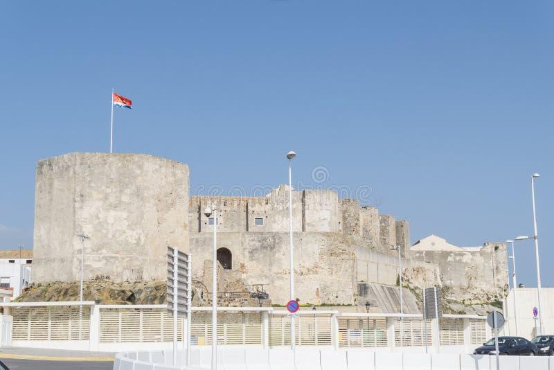 Guzman el bueno城堡,塔里法角,卡迪士,西班牙 免版税库存照片