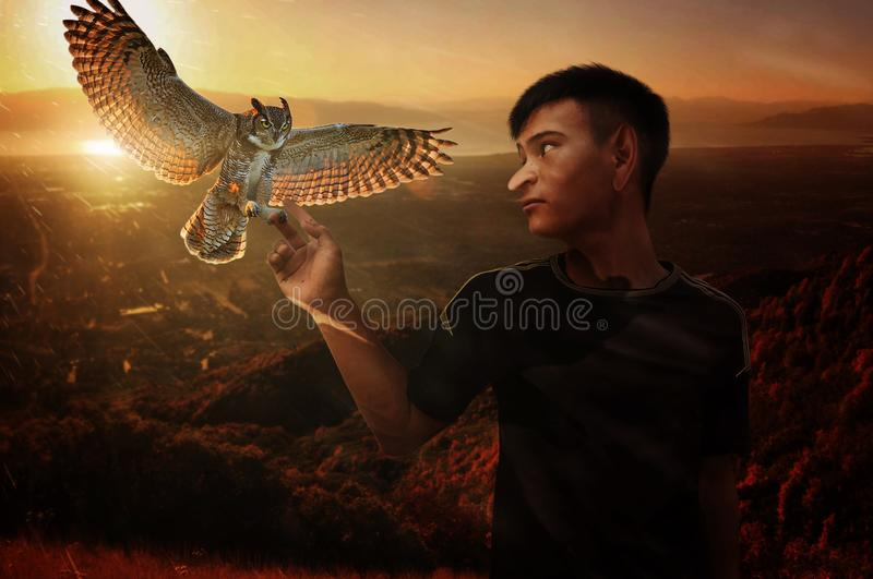 GV fantastic peaks along with birds royalty free stock images