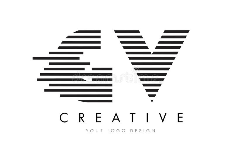 GV G V Zebra Letter Logo Design with Black and White Stripes stock illustration