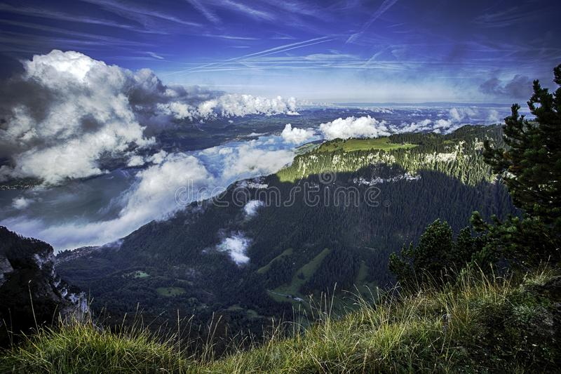 GView of Lake Thun and Bernese Alps including Jungfrau, Eiger and Monch peaks from the top of Niederhorn in summer, Switzerland royalty free stock images