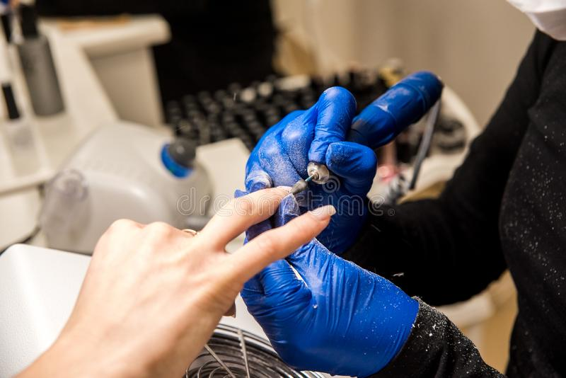 Gwóźdź techniki segregowania gwoździe z gwóźdź kartoteką Fachowi manicure narzędzia zdjęcie stock