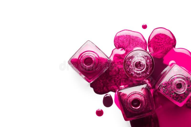 Gw??d? sztuki poj?cie Kruszcowy różowy gwoździa połysk obraz stock