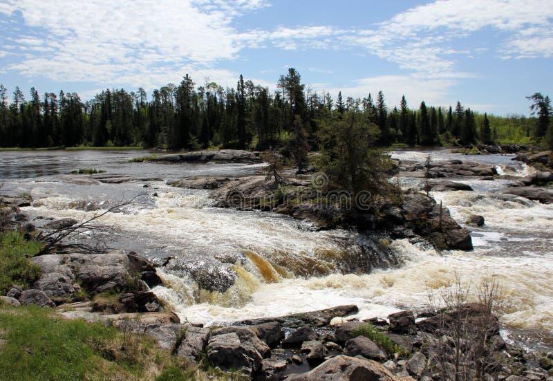 Gwałtowni przy Wabigoon rzeką, Ontario fotografia stock
