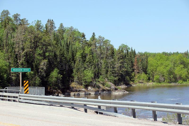 Gwałtowni przy Wabigoon rzeką, Ontario obraz stock